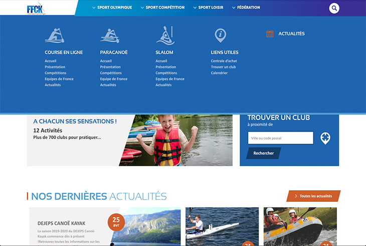 Portail FFCK - Webdesign & UX Design par l'agence digitale Paris Stargraf