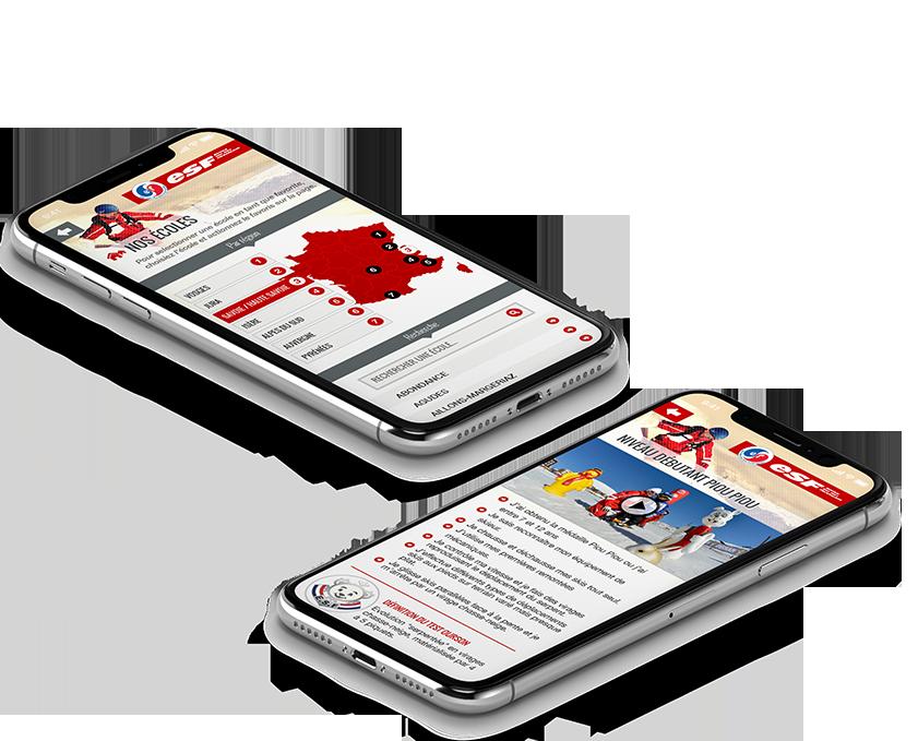 Application mobile ESF par l'agence web Stargraf